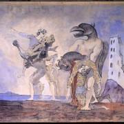 """Pablo Picasso, """"La dépouille du Minotaure en costume d'arlequin"""", 1936 dit Rideau de scène pour le 14 juillet de Romain Rolland"""